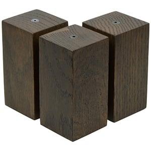 3x Multifunctioneel blok voor sieraden, medium Massief hout, donker gebeitst