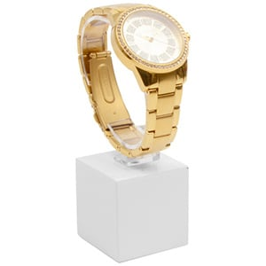 Displayzuil voor horloge, klein Hoogglans gelakt hout, wit 40 x 40 x 40