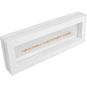 Sieradendisplay met siliconenvenster, langwerpig Wit hoogglans gelakt hout 110 x 300 x 40