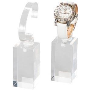 Display met klem voor Horloge, groot Transparant acryl 40 x 40 x 80
