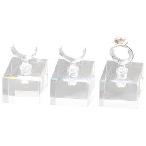 Display met klem voor 1 ring, klein Transparant acryl 30 x 30 x 30