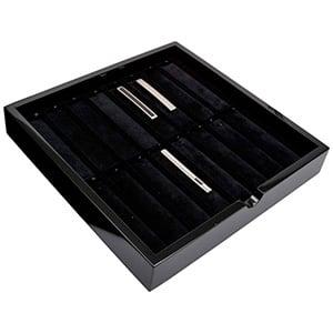 Tableau voor 16x dasspeld Zwart hoogglans hout/ Zwarte velours cartouches 241 x 241 x 38