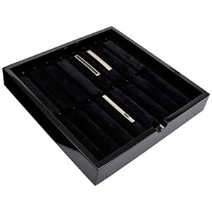 Kaseta na 16 spinek do krawata Kolor czarny/ Czarny welur 241 x 241 x 38