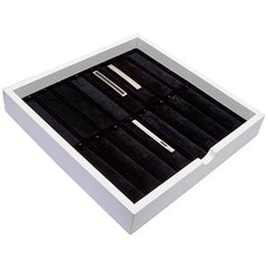 Tableau voor 16x dasspeld Wit hoogglans hout/ Zwarte velours cartouches 241 x 241 x 38