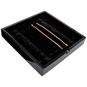 Tableau voor 8x armband, met elastiek Zwart hoogglans hout/ Zwarte velours cartouches 241 x 241 x 38