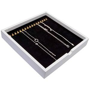 Tableau voor 17x ketting, op haakjes Wit hoogglans hout/ Zwarte velours cartouches 241 x 241 x 38