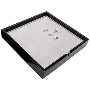Tableau voor 49x ring Zwart hoogglans hout/ Grijze foam kussens 241 x 241 x 38