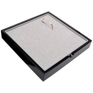 Tableau voor 20x armring Zwart hoogglans hout/ Grijze foam kussens 241 x 241 x 38