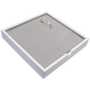 Tableau voor 20x armring Wit hoogglans hout/ Grijze foam kussens 241 x 241 x 38