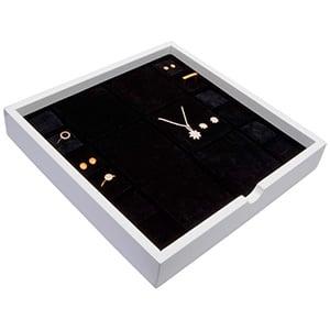 Plateau présentation: Assorti de bijoux Bois blanc lacqué/ Coussins en mousse noire 241 x 241 x 38
