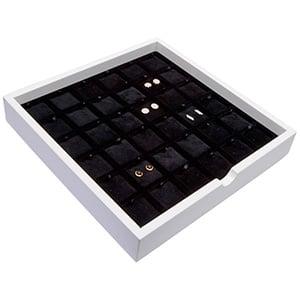 Tableau voor 36 paar oorsieraden Wit hoogglans hout/ Zwarte velours cartouches 241 x 241 x 38