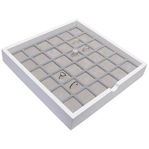 Tableau voor 36x ring Wit hoogglans hout/ Grijze foam kussens 241 x 241 x 38