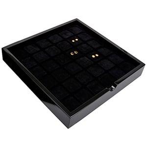 Tableau voor 36 paar oorsieraden Zwart hoogglans hout/ Zwarte foam kussens 241 x 241 x 38