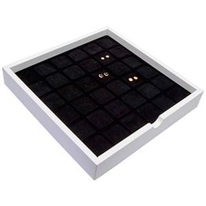 Tableau voor 36 paar oorsieraden Wit hoogglans hout/ Zwarte foam kussens 241 x 241 x 38