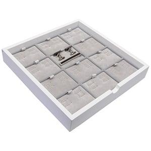 Tableau voor 12 paar manchetknopen/dasspeld Wit hoogglans hout/ Grijze velours cartouches 241 x 241 x 38