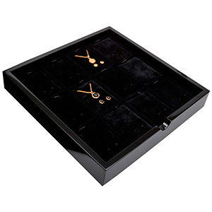 Tableau voor 12x sieradenset, staand Zwart hoogglans hout/ Zwarte velours cartouches 241 x 241 x 38