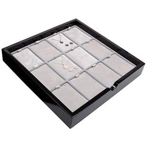 Tableau voor 12x sieradenset, staand Zwart hoogglans hout/ Grijze velours cartouches 241 x 241 x 38