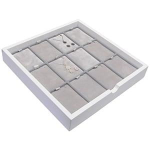 Tableau voor 12x sieradenset, staand Wit hoogglans hout/ Grijze velours cartouches 241 x 241 x 38