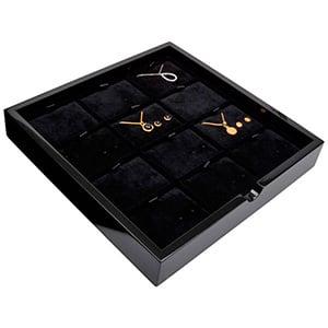Tableau voor 12x sieradenset, liggend Zwart hoogglans hout/ Zwarte velours cartouches 241 x 241 x 38