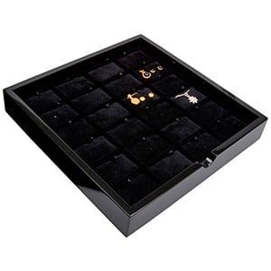 Plateau présentation: 24x parures 3 pièces Bois noir lacqué/ Coussins en velours noir 241 x 241 x 38