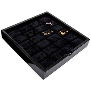 Tableau voor 24x sieradenset Zwart hoogglans hout/ Zwarte foam kussens 241 x 241 x 38