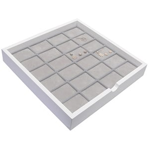 Tableau voor 24x sieradenset Wit hoogglans hout/ Grijze foam kussens 241 x 241 x 38