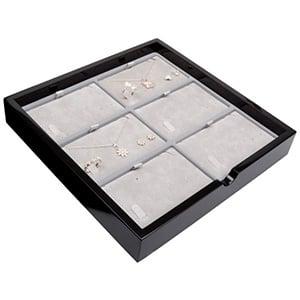 Tableau voor 6x sieradenset, liggend Zwart hoogglans hout/ Grijze velours cartouches 241 x 241 x 38