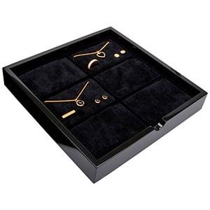 Tableau voor 6x sieradenset, liggend Zwart hoogglans hout/ Zwarte foam kussens 241 x 241 x 38