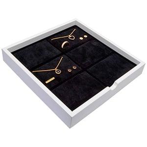 Tableau voor 6x sieradenset, liggend Wit hoogglans hout/ Zwarte foam kussens 241 x 241 x 38