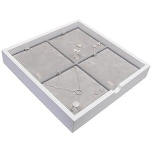 Tableau voor 4x sieradenset Wit hoogglans hout/ Grijze velours cartouches 241 x 241 x 38