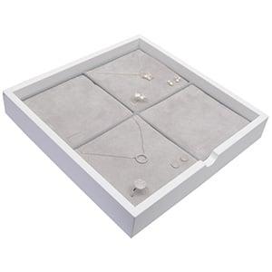 Tableau voor 4x sieradenset Wit hoogglans hout/ Grijze foam kussens 241 x 241 x 38