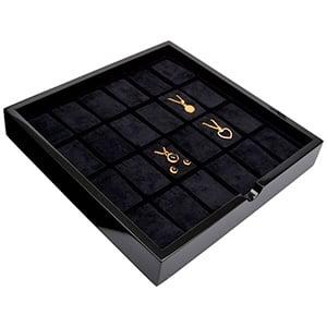 Tableau voor 24x lange oorbellen Zwart hoogglans hout/ Zwarte foam kussens 241 x 241 x 38