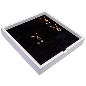 Tableau voor 12x lange oorbellen Wit hoogglans hout/ Zwarte foam kussens 241 x 241 x 38