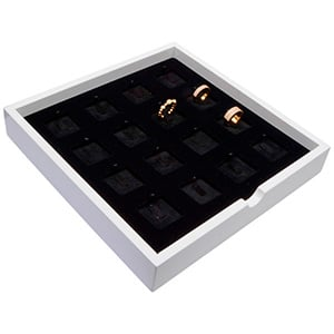 Tableau voor 16x ring, op clip Wit hoogglans hout/ Zwarte velours cartouches 241 x 241 x 38