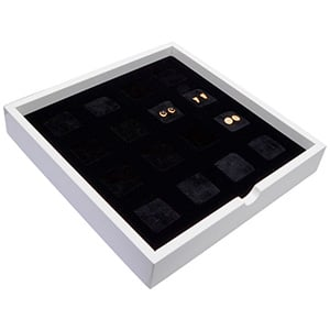 Tableau voor 16x oorsieraden/hanger Wit hoogglans hout/ Zwarte foam kussens 241 x 241 x 38