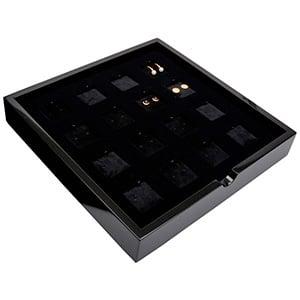 Tableau voor 16x oorsieraden/hanger Zwart hoogglans hout/ Zwarte velours cartouches 241 x 241 x 38