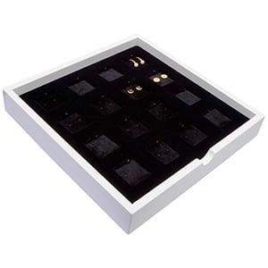 Tableau voor 16x oorsieraden/hanger Wit hoogglans hout/ Zwarte velours cartouches 241 x 241 x 38