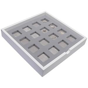 Tableau met 12 universele vakjes Wit hoogglans hout/ Grijze foam kussens 241 x 241 x 38