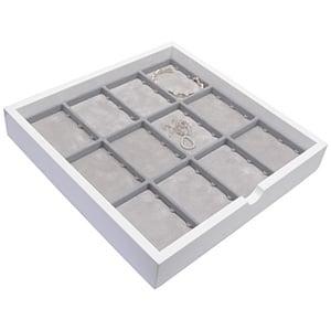 Plateau présentation : 12x poche universelle Bois blanc lacqué/ Coussins en mousse gris clair 241 x 241 x 38