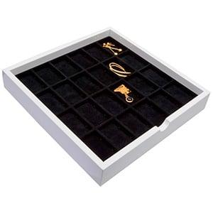 Tableau met 24 universele vakjes Wit hoogglans hout/ Zwarte foam kussens 241 x 241 x 38