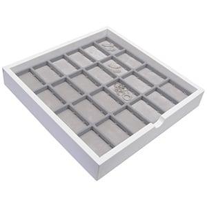 Tableau met 24 universele vakjes Wit hoogglans hout/ Grijze foam kussens 241 x 241 x 38