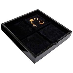 Tableau met 4 universele vakjes Zwart hoogglans hout/ Zwarte foam kussens 241 x 241 x 38