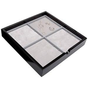 Tableau met 4 universele vakjes Zwart hoogglans hout/ Grijze foam kussens 241 x 241 x 38