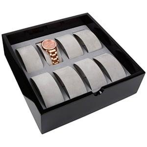 Tableau voor 8x horloge op beugel, extra hoog Zwart hoogglans hout/ Grijze velours beugels 242 x 242 x 74