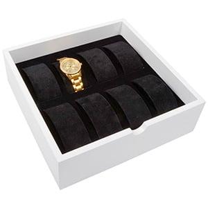 Tableau voor 8x horloge op beugel, extra hoog Wit hoogglans hout/ Zwarte velours beugels 242 x 242 x 74
