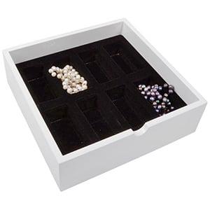 Tableau met 8 vakken, extra hoog Wit hoogglans hout/ Zwarte velour kussensls 242 x 242 x 74