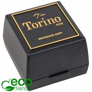 Torino ECO Jewellery Box for Ring / Wedding Rings Black recycled plastic/ Gold tooling/ Black Foam 44 x 47 x 33