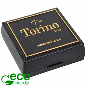 Torino ECO Jewellery Box Drop Earrings/ Pendant Black recycled plastic/ Gold tooling/ Black Foam 60 x 60 x 22
