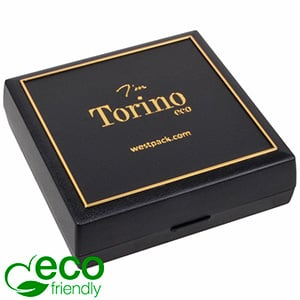 Torino ECO Jewellery Box for Bangle/ Large Pendant Black recycled plastic/ Gold tooling/ Black Foam 84 x 84 x 25