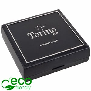 Torino ECO Jewellery Box for Bangle/ Large Pendant Black recycled plastic/ Silver tooling/ Black Foam 84 x 84 x 25